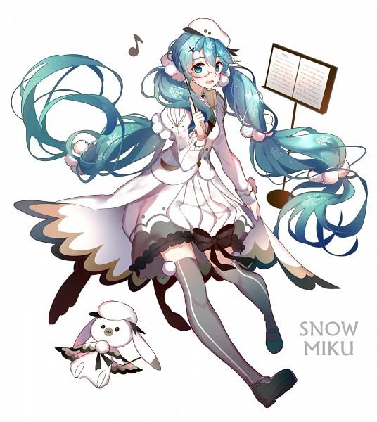 Tags: Anime, Pixiv Id 8890590, VOCALOID, Hatsune Miku, White Outerwear, Black Bow, Rabbit