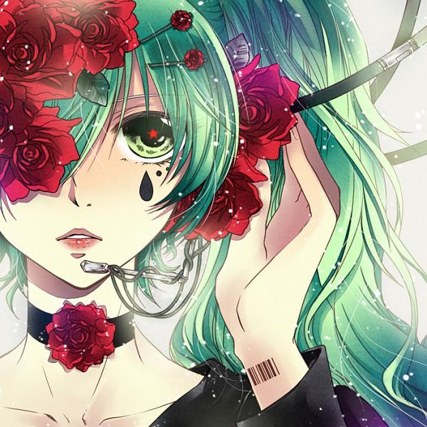 Tags: Anime, Arin1201, VOCALOID, Hatsune Miku, Flower (Symbol), Close Up, Barcode