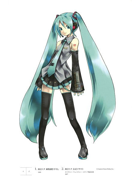 Tags: Anime, KEI (Pixiv4088), Vocaloid, Hatsune Miku, Pleated Skirt, Thigh Boots, Microphone