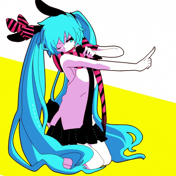 Tags: Anime, Pixiv Id 3643887, VOCALOID, Hatsune Miku, Striped Bow, Outfit Adaptation, Multi-colored Bow