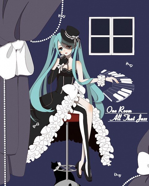 Tags: Anime, Pixiv Id 3532713, Vocaloid, Hatsune Miku, Text: Song Title, Curtain, Piano Keys