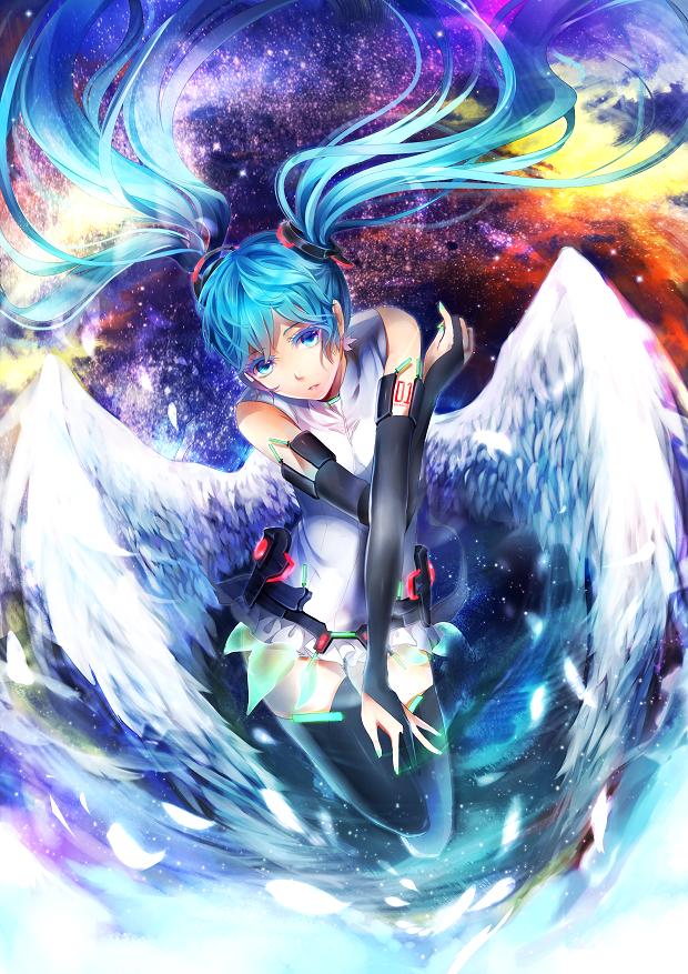 Tags: Anime, LuluSeason, VOCALOID, Hatsune Miku, Aqua Nails, Galaxy, Append, Fanart, Mobile Wallpaper, Revision, Pixiv