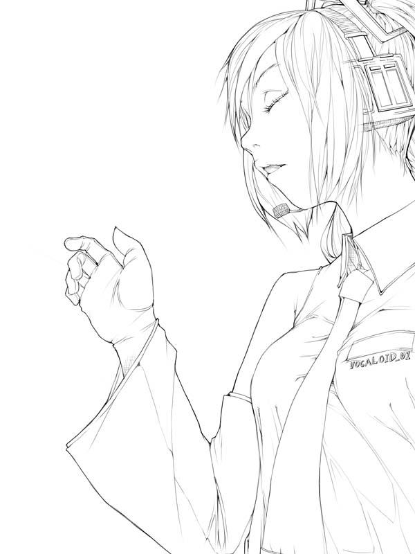 Zerochan Lineart : Hatsune miku vocaloid image  zerochan anime