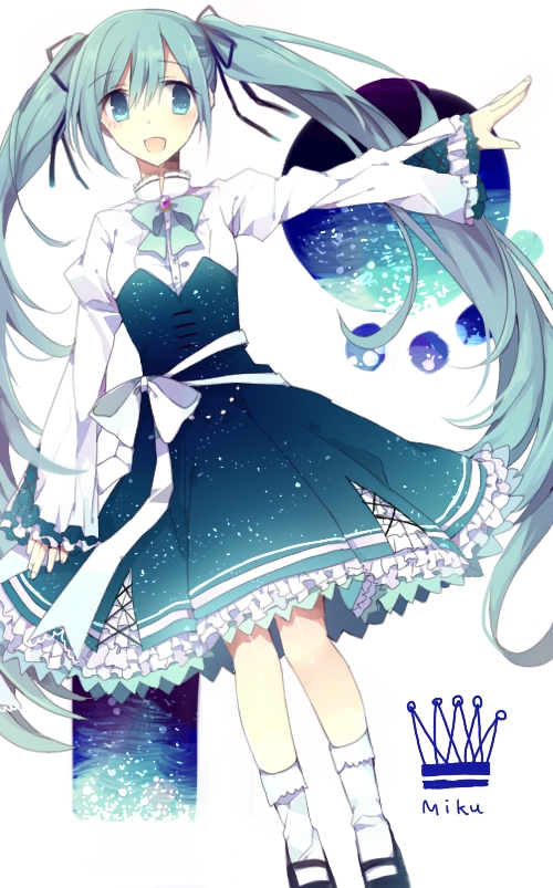 Tags: Anime, Hatsune Miku, Vocaloid, Blue Ribbon, Blue Dress, Blue Bow, White Bow