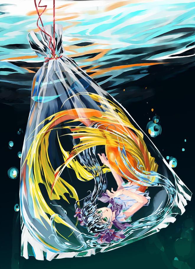 Tags: Anime, Pixiv Id 1304769, VOCALOID, Hatsune Miku, Plastic Bag, Gray Bow, Transparent Hair, Gray Neckwear, Fanart, Fanart From Pixiv, Bottle Design, Pixiv, Mobile Wallpaper