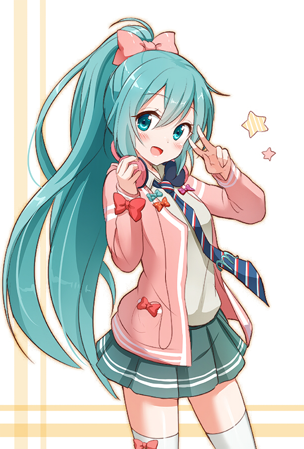Tags: Anime, Snowmi, Project DIVA F, VOCALOID, Hatsune Miku, Spotted Bow, Pink Sweater, Teal Skirt, Project DIVA Ribbon Girl, PNG Conversion, Mobile Wallpaper, Pixiv, Hatsune Miku Day