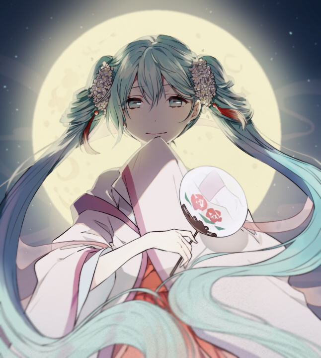 Tags: Anime, Pixiv Id 7204745, VOCALOID, Hatsune Miku, Uchiwa, Transparent Object, PNG Conversion, Fanart, Mid-Autumn Design, Pixiv, Fanart From Pixiv
