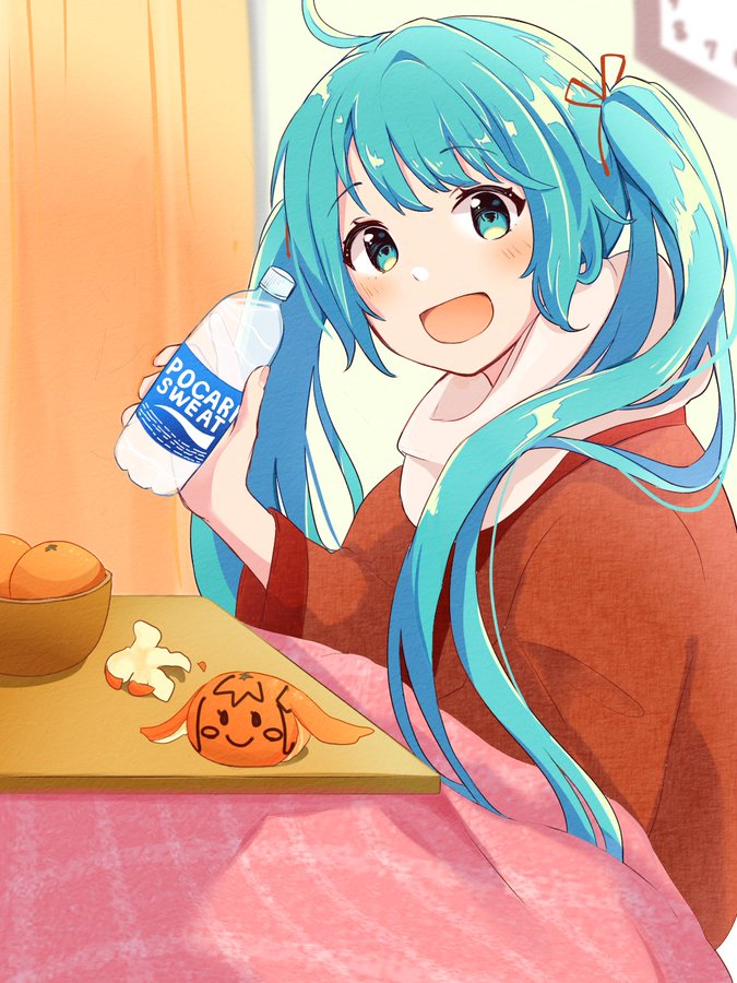 Tags: Anime, Pixiv Id 6445700, VOCALOID, Hatsune Miku, Futon, Pocari Sweat, Product Advertising, Twitter, Official Art