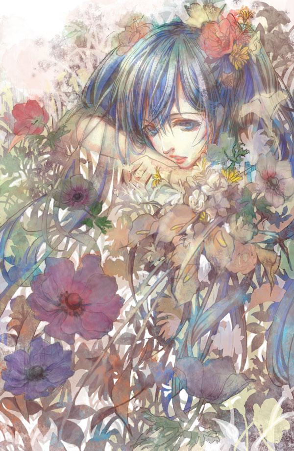 Tags: Anime, Shikaji Kashikai, VOCALOID, Hatsune Miku, Anemone (Flower), Poppy, Pixiv, Mobile Wallpaper
