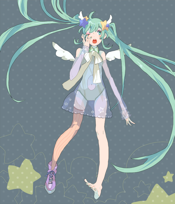 Tags: Anime, Pixiv Id 1260426, VOCALOID, Hatsune Miku, Single Shoe, Pixiv, Fanart