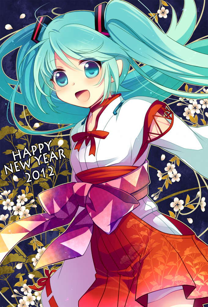 Tags: Anime, Miyu (Matsunohara), VOCALOID, Hatsune Miku, Mobile Wallpaper, Happy 2012