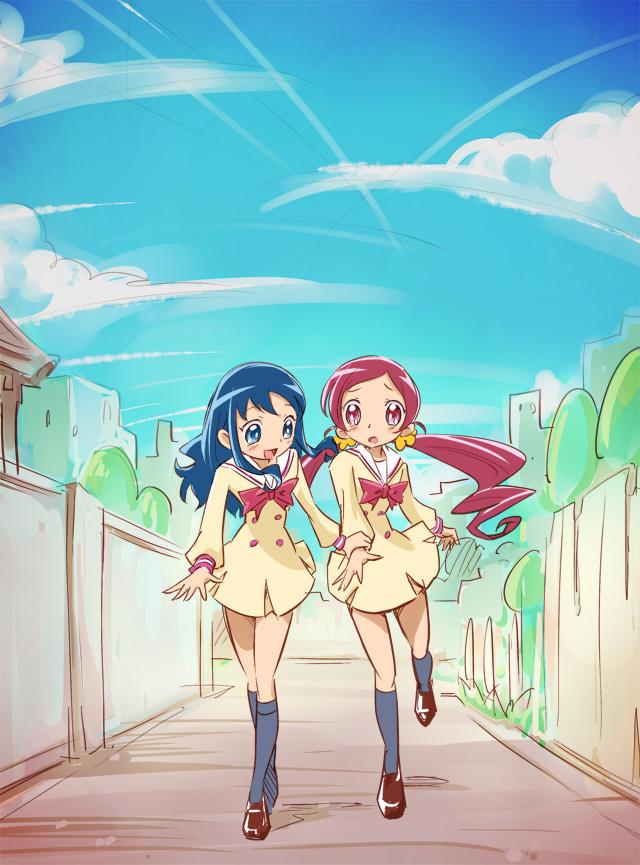 Tags: Anime, Mousoup, Heartcatch Precure!, Hanasaki Tsubomi, Kurumi Erika, Nervous, Fanart From Pixiv, Pixiv, Fanart