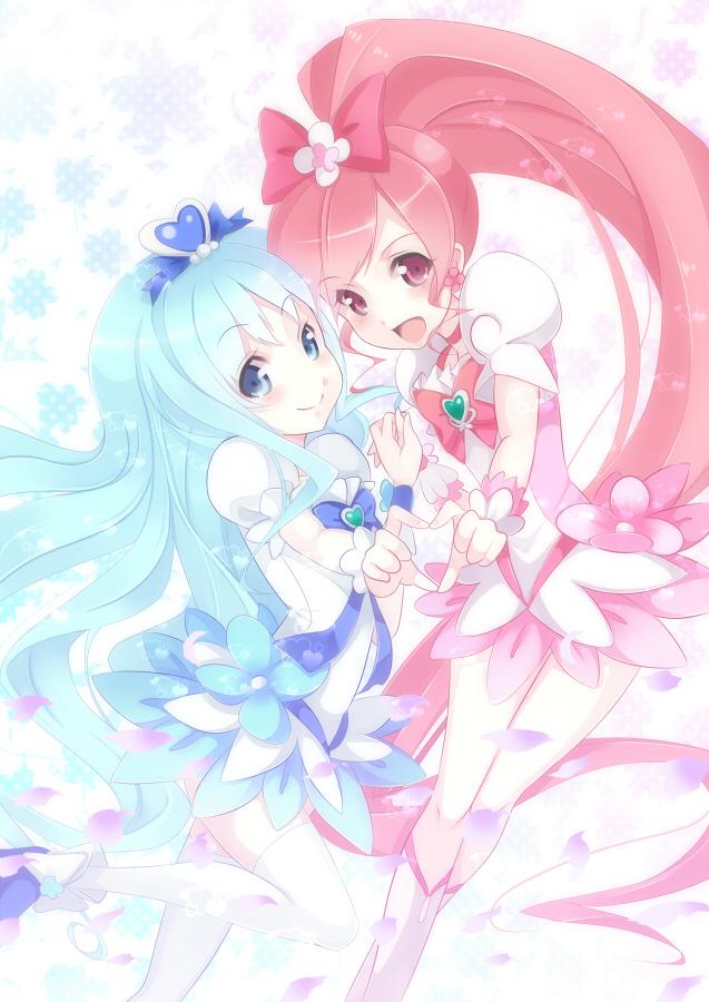 Tags: Anime, Kisaichi Jin, Heartcatch Precure!, Kurumi Erika, Cure Blossom, Cure Marine, Hanasaki Tsubomi