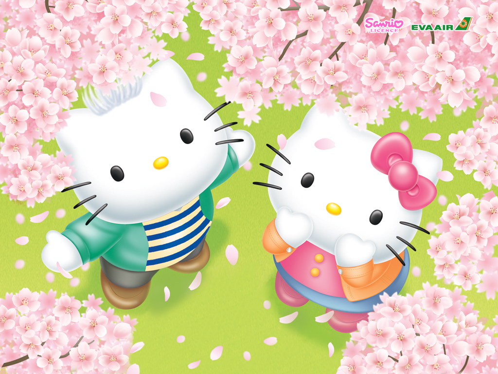 , 1024x768 Wallpaper, Spring, Hello Kitty, Sanrio, Hello Kitty Series
