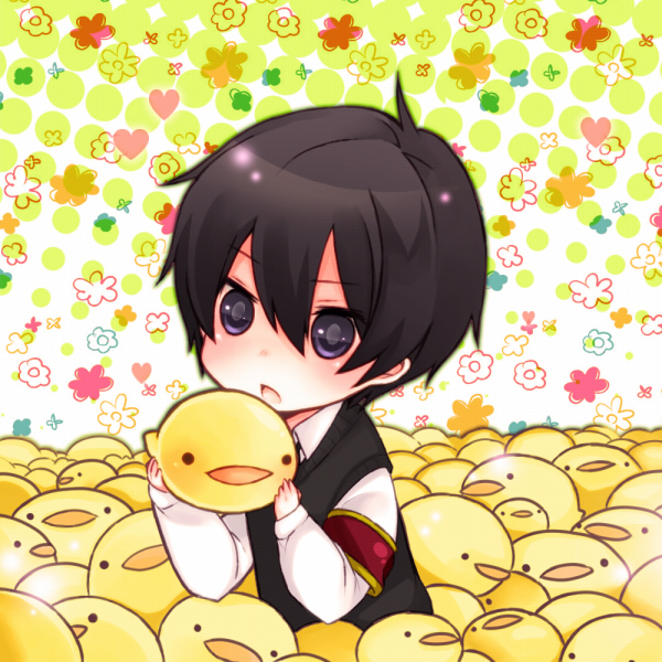 Tags: Anime, Katekyo Hitman REBORN!, Hibird, Hibari Kyoya, Adorably Cute, Spotted Background, Sanada Nako