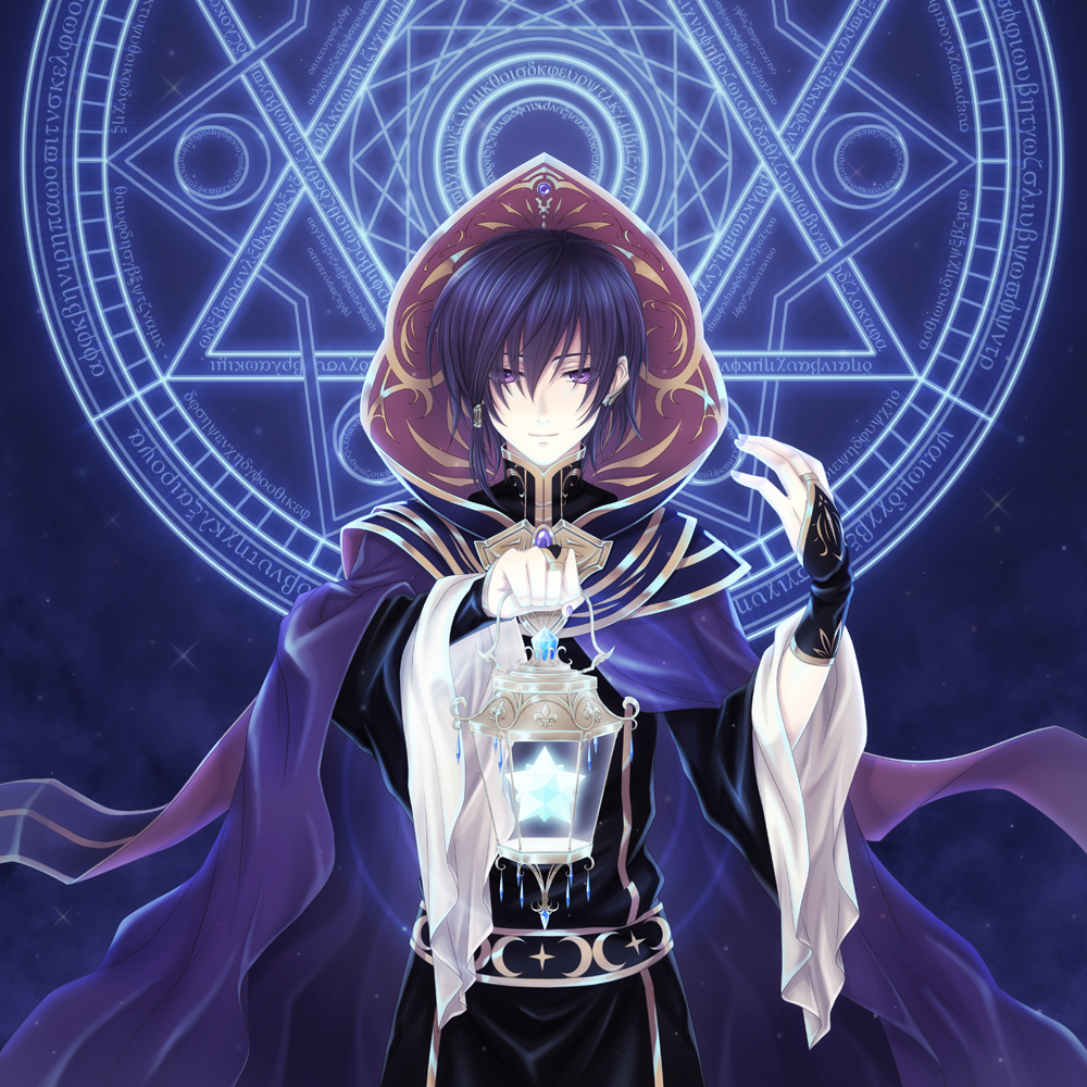 Anime male with blue hair
