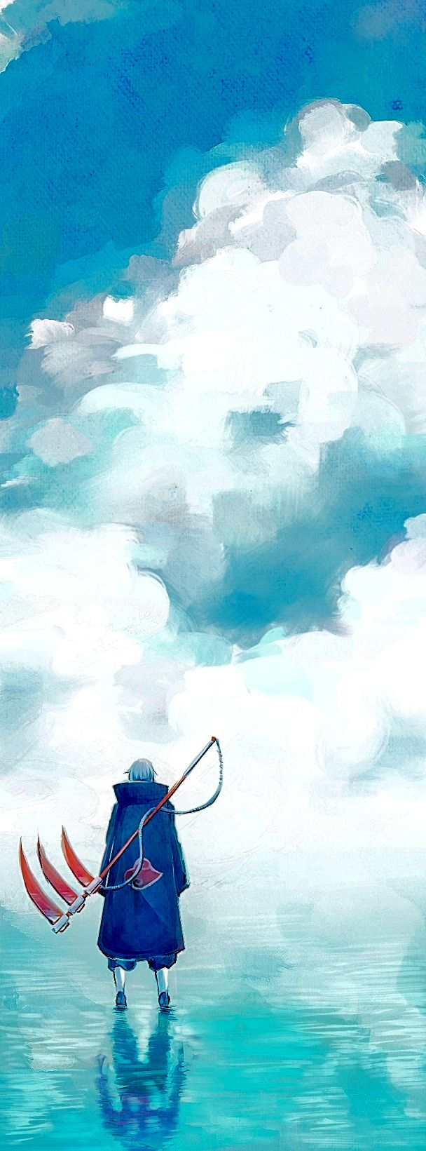 Tags: Anime, Mackerel (Artist), NARUTO, Kakuzu, Hidan, Different Reflection, Water Reflection, Walking On Water, Pixiv