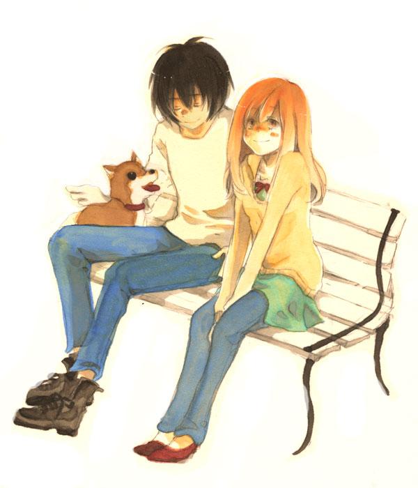 Tags: Anime, Higashi no Eden, Morimi Saki, Takizawa Akira, Angelika (Higashi no Eden), Dog, Park Bench