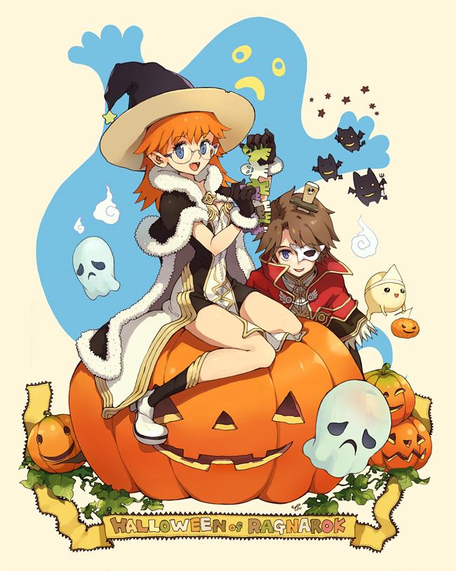 Tags: Anime, Tiv, Ragnarok Online: 5th Anniversary Memorial Book Artbook, RAGNARÖK ONLINE, High Wizard, Sitting On Pumpkin, Fanart, Pixiv, Transcendent Second Class