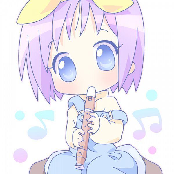 Tags: Anime, Mirai (Sugar), Lucky☆Star, Hiiragi Tsukasa, Flute, Music Note, Overalls