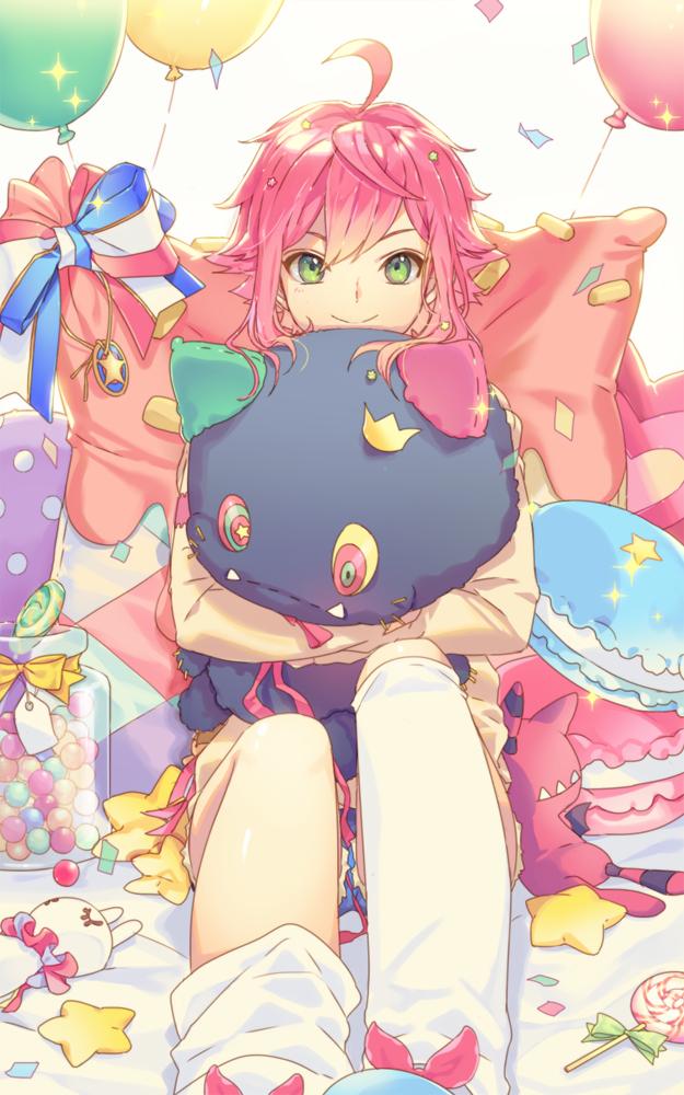 Tags: Anime, Enk, Ensemble Stars!, Himemiya Touri, Hugging Toy, Candys, Fanart From Pixiv, PNG Conversion, Pixiv, Fanart, Mobile Wallpaper
