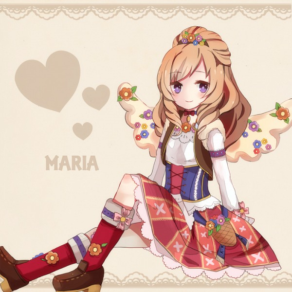 Tags: Anime, Red Legwear, Beige Background, Red Skirt, Aikatsu!, Brown Outerwear, Himesato Maria