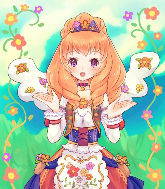 Tags: Anime, Grass, Grass Field, Field, Corset, Flower Crown, Tobira