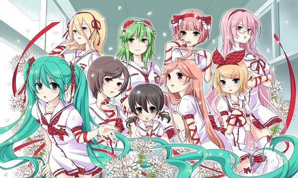 Tags: Anime, Kiko (Pixiv224867), VOCALOID, SF-A2 miki, Kagamine Rin, Lily (VOCALOID), GUMI