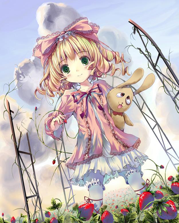 Tags: Anime, Yamamoto Nori, Rozen Maiden, Hinaichigo, Kun-kun, juguete, conejo