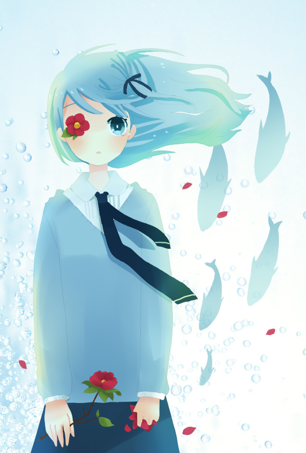 Tags: Anime, Ayu, VOCALOID, Hatsune Miku, Fan Character, Eye Flower, Hirari Hirari, Mobile Wallpaper, Pixiv