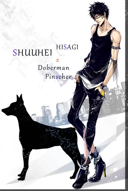 Tags: Anime, Pixiv Id 4031702, BLEACH, Hisagi Shuuhei, Doberman, Pixiv, Mobile Wallpaper, Fanart
