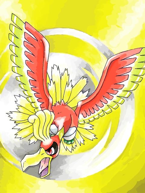 Tags: Anime, Mosako (Tegaki), Pokémon, Ho-oh, Tegaki, Fanart, PNG Conversion, Legendary Pokémon, Mobile Wallpaper