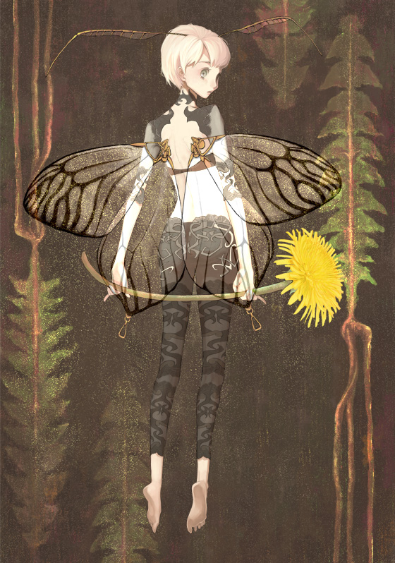 Tags: Anime, Hohduki, Dandelion, Butterfly Wings, Antenna (Anatomy), Butterfly (Personification), Flying