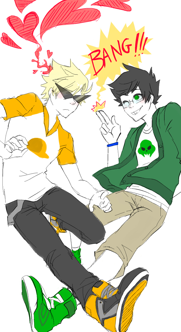 Tags: Anime, Blackoutballad, Homestuck, Dirk Strider, Jake English, Sunglasses, Pointing