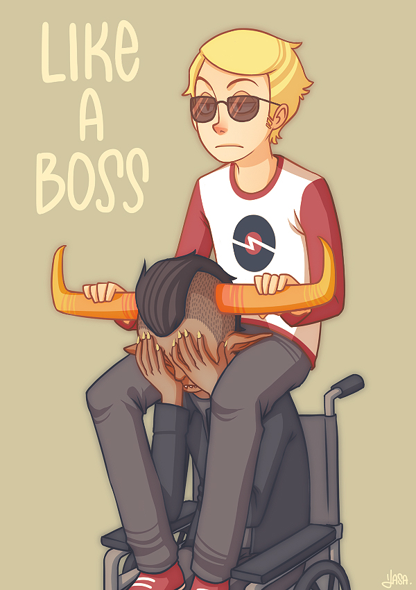 Tags: Anime, Andy-shunsho, Homestuck, Dave Strider, Tavros Nitram, Like a Boss, Wheelchair, Mohawk, Wheel, Davros, Mobile Wallpaper