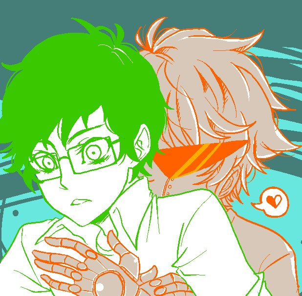 Tags: Anime, Jin-nyeh, Homestuck, Jake English, Dirk Strider, Brobot, Kiss On The Neck