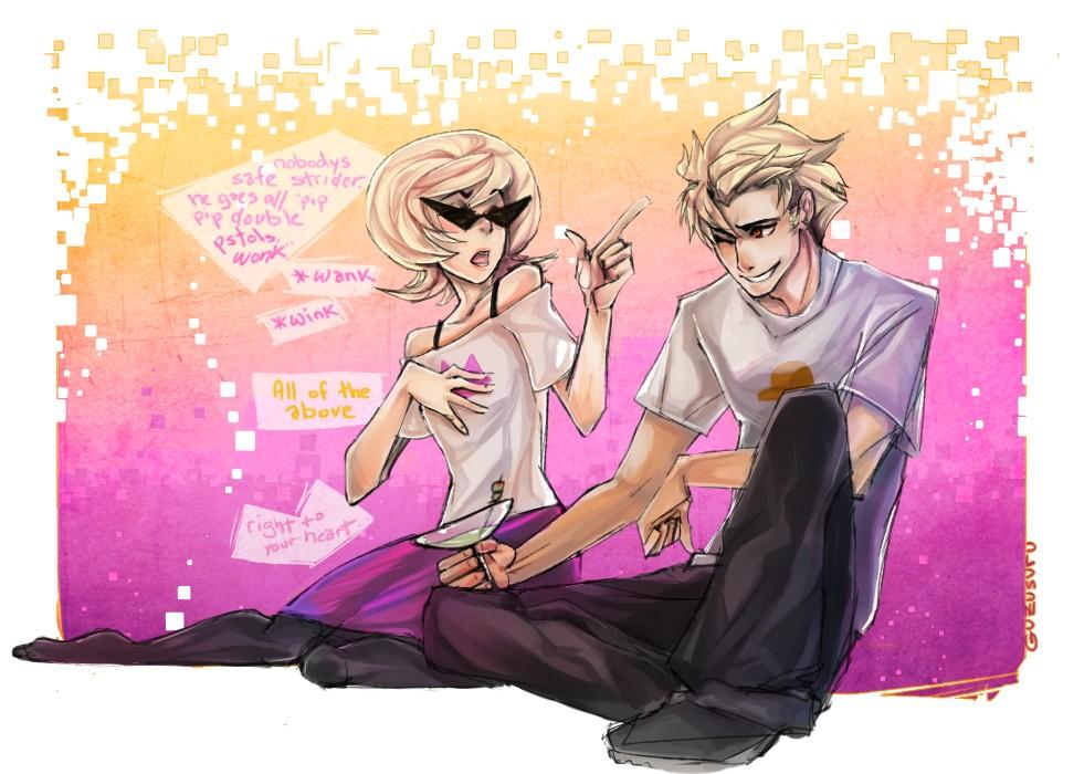 Anime  Guzusuru  Homestuck  Roxy Lalonde  Dirk Strider  Alcohol  WineTrickster Roxy And Dirk