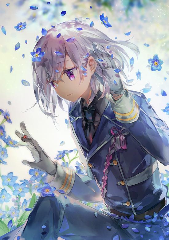 Tags: Anime, Namie-kun, Touken Ranbu, Honebami Toushirou, Gray Handwear, Ladybug, Gray Gloves, Forget Me Not (Flower), Mobile Wallpaper, Twitter, Fanart, PNG Conversion