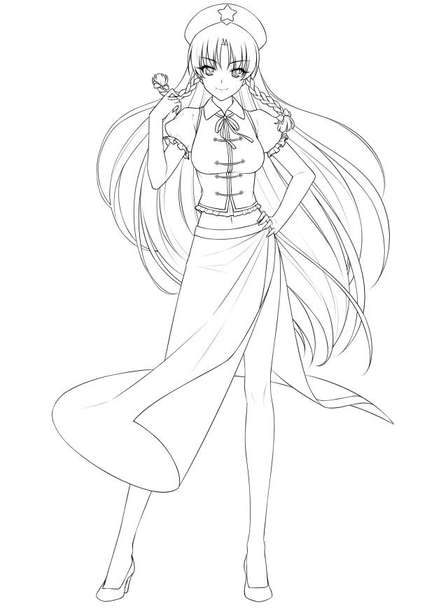 Zerochan Lineart : Hong meiling touhou image  zerochan anime