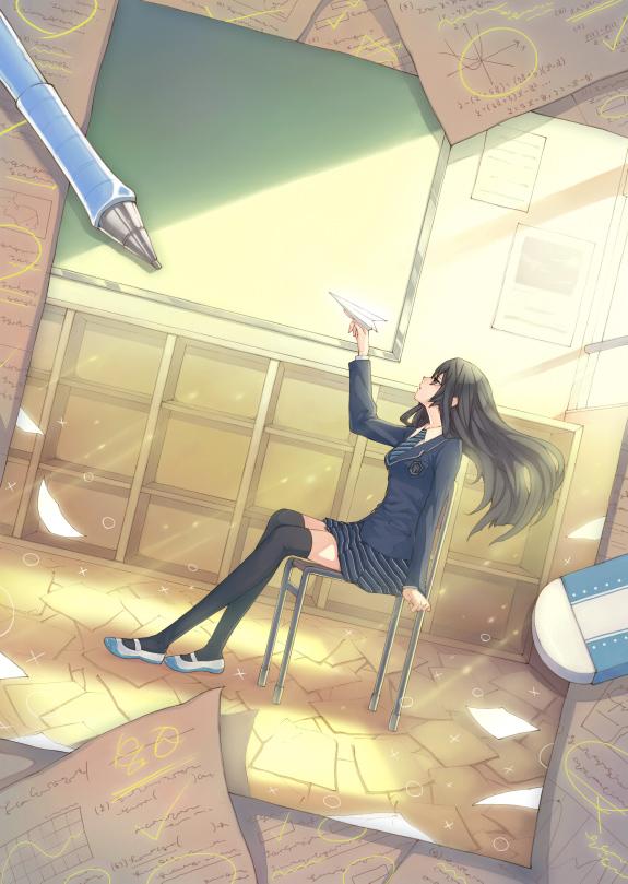 Tags: Anime, Hoshi (Little Stars+), Chalkboard, Eraser, Paper Airplane, Original, Mobile Wallpaper