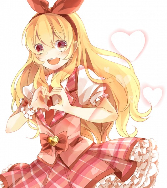 Tags: Anime, Vest, Heart Gesture, Puffy Sleeves, Plaid, Petticoats, Pink Skirt