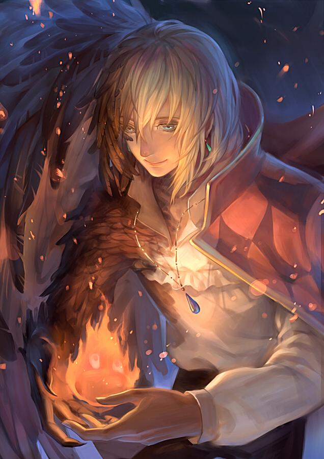 Tags: Anime, .Axis., Howl no Ugoku Shiro, Calcifer, Howl, Transformation, Mobile Wallpaper, Pixiv, Fanart