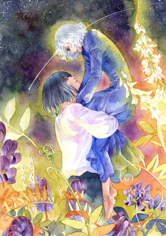 Tags: Anime, Chernotrav, Studio Ghibli, Howl no Ugoku Shiro, Sophie Hatter, Howl, Watercolor, Fanart, Mobile Wallpaper, deviantART, Traditional Media, Howl's Moving Castle