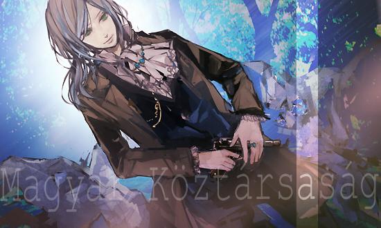 Tags: Anime, Hoka, Axis Powers: Hetalia, Hungary (Male), Revolver, Hungarian Text, Pixiv, Fanart, Nyotalia