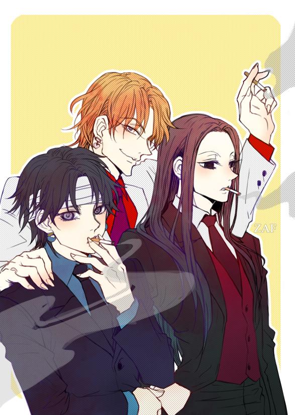 Tags: Anime, Pixiv Id 3622118, Hunter x Hunter, Illumi Zoldyk, Chrollo Lucilfer, Hisoka, Fanart, Mobile Wallpaper, Pixiv, Fanart From Pixiv