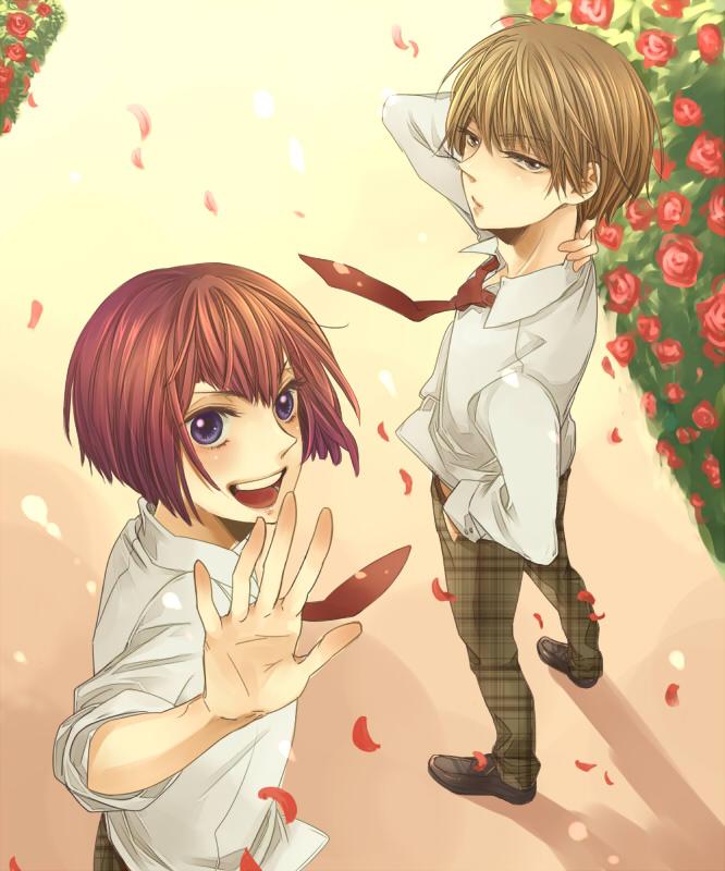 Tags: Anime, Sanya, Tennis no Ouji-sama, Hiyoshi Wakashi, Mukahi Gakuto, Fanart, Pixiv, Hyotei Academy