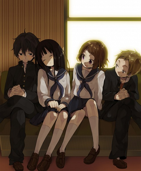 Tags: Anime, Hiyo Kiki, Hyouka, Oreki Houtarou, Ibara Mayaka, Fukube Satoshi, Chitanda Eru