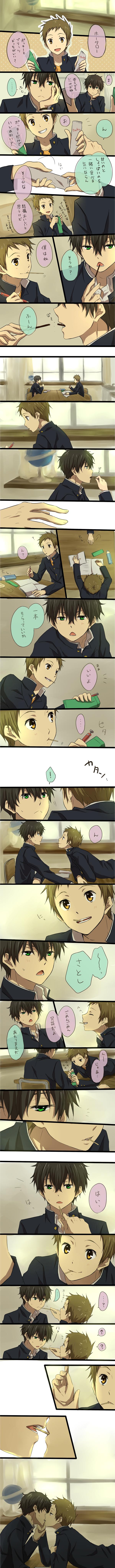 Tags: Anime, Rito, Hyouka, Oreki Houtarou, Fukube Satoshi, Holding Wrist, Eyes Half Closed, Writing