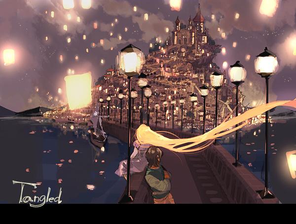 Tags: Anime, Gori Matsu, Rapunzel, Tangled (Disney), Flynn Rider (Eugene Fitzherbert), Rapunzel (Character), Rapunzel (Tangled), Sky Lanterns, Boat, Paper Lantern, I See The Light, Pixiv