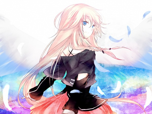 Tags: Anime, Caco, Vocaloid, IA, 1024x768 Wallpaper, Feather
